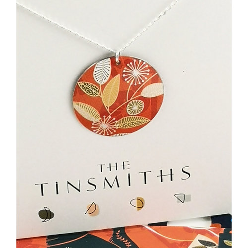 The Tinsmith Coral flowers convex disc  tin & silver necklace 35