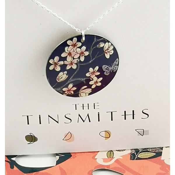 Cherry convex disc  tin & silver necklace 36