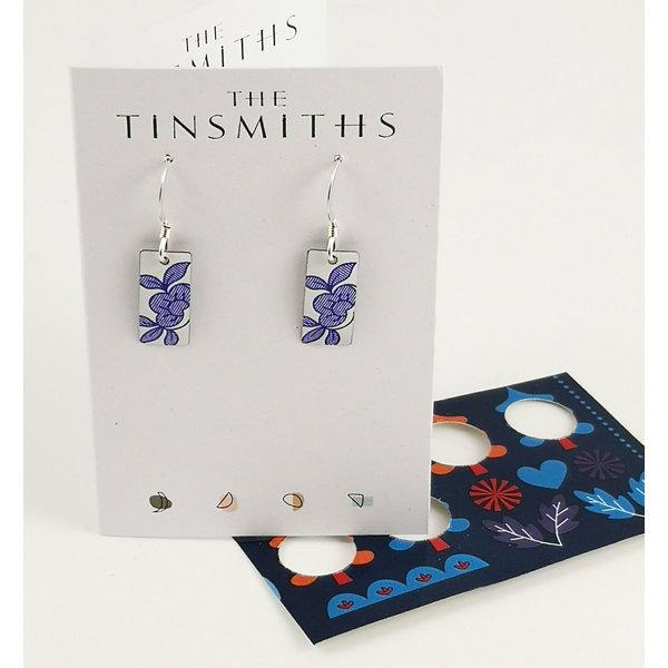 Italian tile rectangle  tin & silver drop earrings 28