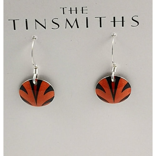 The Tinsmith Disc orange splash  tin & silver drop earrings 24