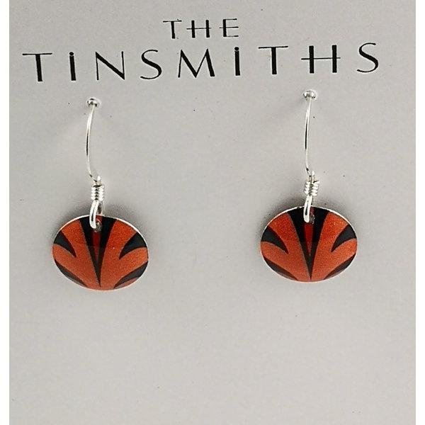 Disc orange splash  tin & silver drop earrings 24