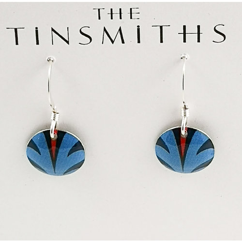 The Tinsmith Disc Blue splash  tin & silver drop earrings 25