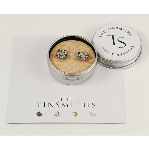The Tinsmith Cherry Flower Tiny Stud Tin Earrings in a Tin 43