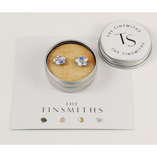 The Tinsmith Jasmine Flower Tiny Stud Tin Earrings in a Tin 44