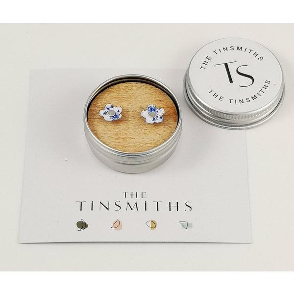 Jasmine Flower Tiny Stud Tin Earrings in a Tin 44