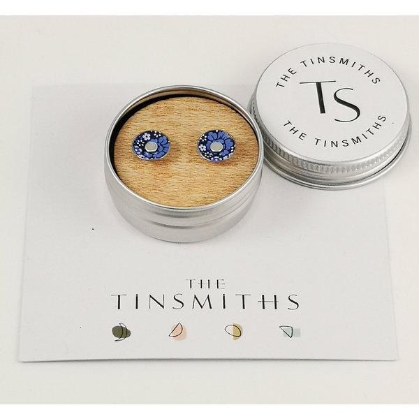 Blue Flower Tiny Stud Tin Earrings in a Tin 45