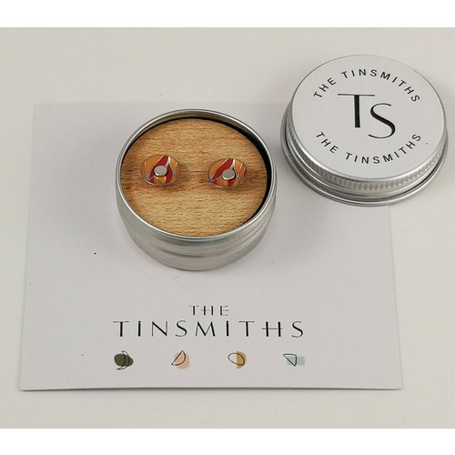The Tinsmith Orange Round Tiny Stud Tin Earrings in a Tin 47