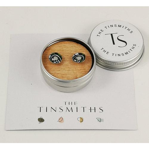 The Tinsmith Aretes redondos grises pequeños de estaño en forma de remolino 48