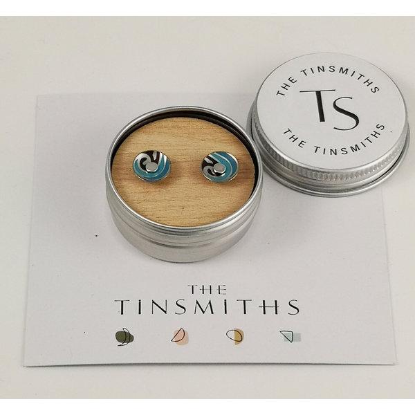 Blue Swirl Round Tiny Stud Tin Earrings in a Tin 49