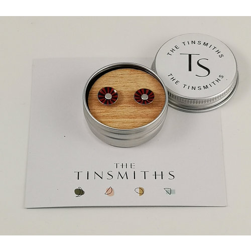 The Tinsmith Red Radiant Round Tiny Ohrstecker aus Zinn in einer Dose 51
