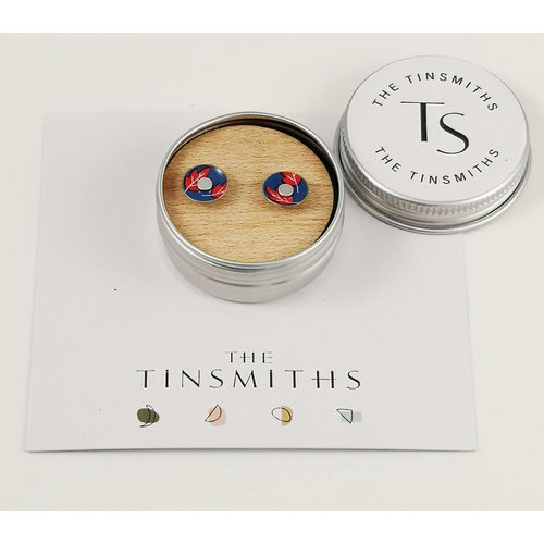 The Tinsmith Red Leaf Round Tiny Stud Tin Earrings in a Tin 52