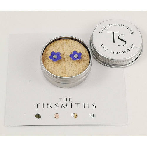 The Tinsmith Lilac Daisy Tiny Stud Tin Earrings in a Tin 53