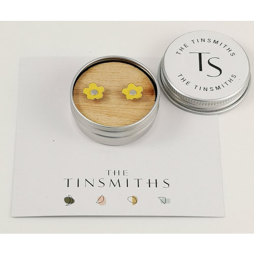 The Tinsmith Yellow Daisy Tiny Stud Tin Ohrringe in einer Dose 55