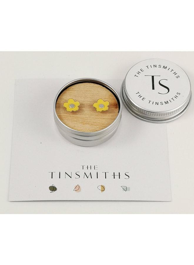 Yellow Daisy Tiny Stud Tin Ohrringe in einer Dose 55