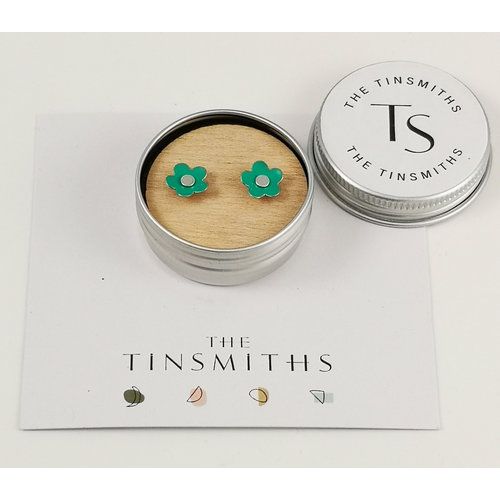The Tinsmith Green Daisy Tiny Stud Tin Earrings in a Tin 57