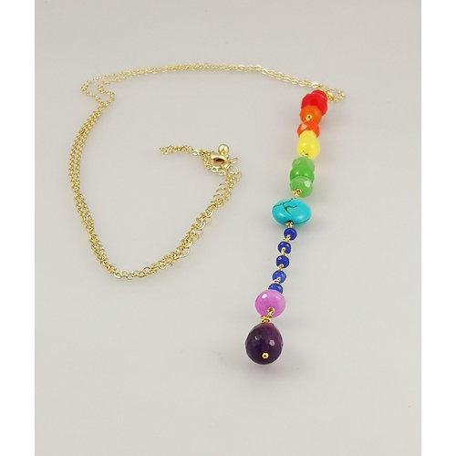 Ladies Who Lunch Downton Rainbow colgante collar chapado en oro 38