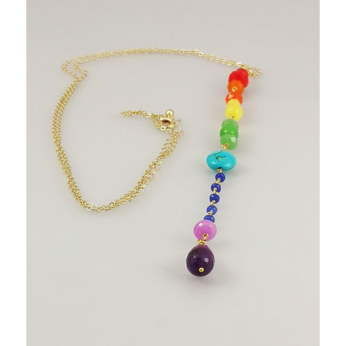 Ladies Who Lunch Downton Rainbow pendant gold plated necklace 38