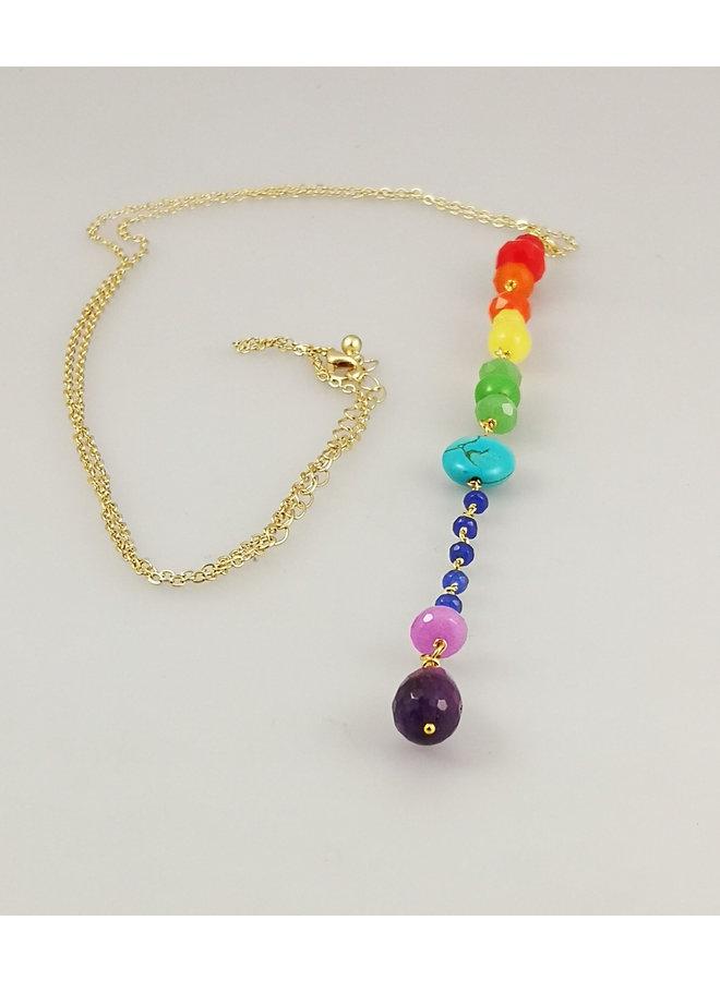 Downton Rainbow Anhänger vergoldete Halskette 38