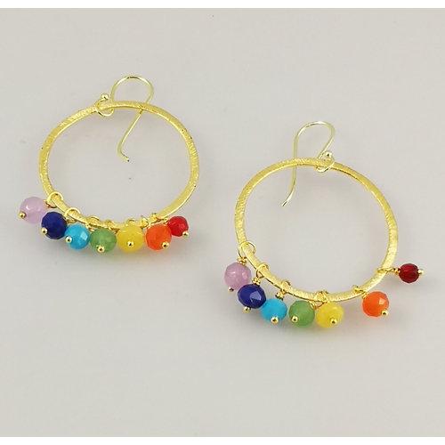 Ladies Who Lunch Rainbow large gold plated hoop earrings 45