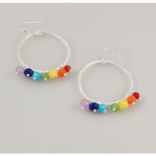 Ladies Who Lunch Rainbow large silver plated hoop earrings 46