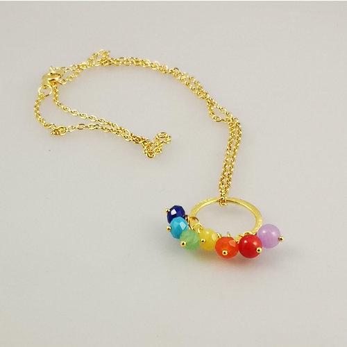 Ladies Who Lunch Collar de aro chapado en oro Rainbow Song 41