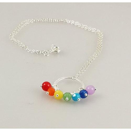 Ladies Who Lunch Collar de aro plateado Rainbow Song plateado 42