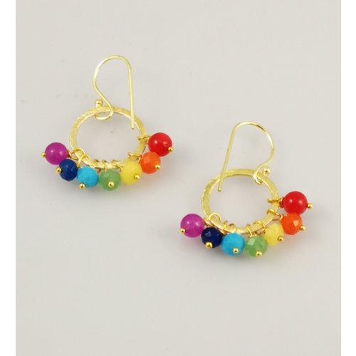 Ladies Who Lunch Rainbow Song gold plated hoop earrings 44