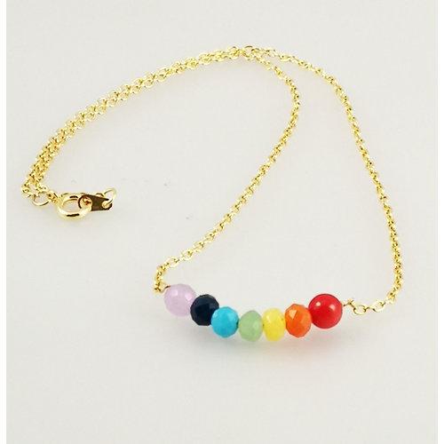 Ladies Who Lunch Regenbogenlächeln vergoldete Halskette 39