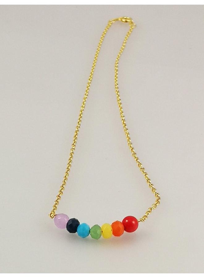 Regenbogenlächeln vergoldete Halskette 40