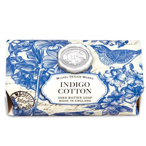 Michel Design Works Barra de jabón de karité de baño grande de algodón índigo