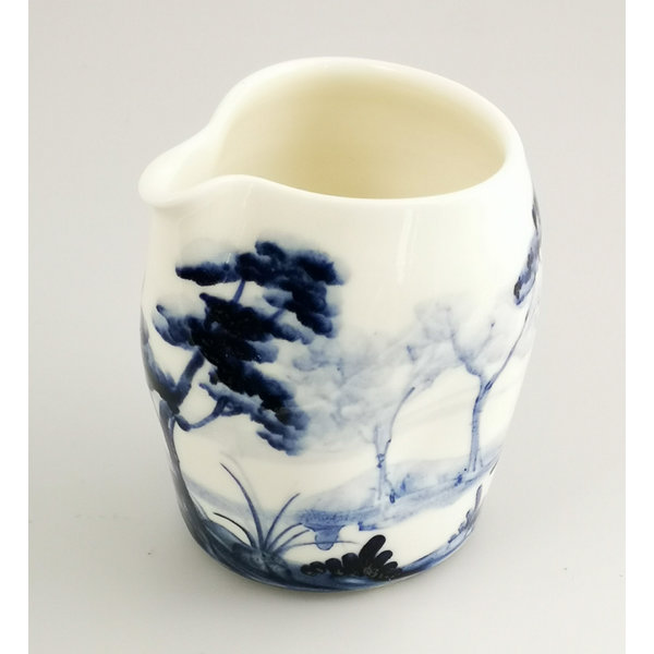 Jarra de colada pintada a mano de porcelana boscosa 034