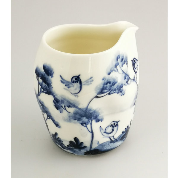 Aves cantando jarra de porcelana pintada a mano 035