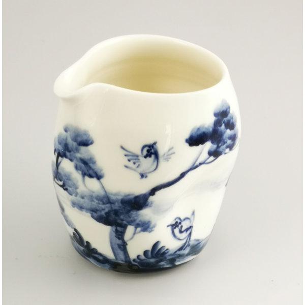 Birds singing porcelain  hand painted  pouring jug 035