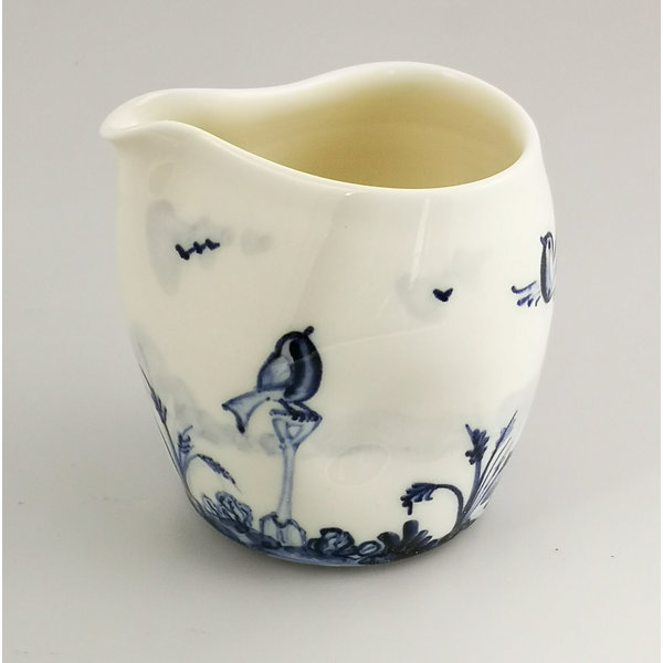 Robins in garden porcelain  hand painted  pouring jug 036