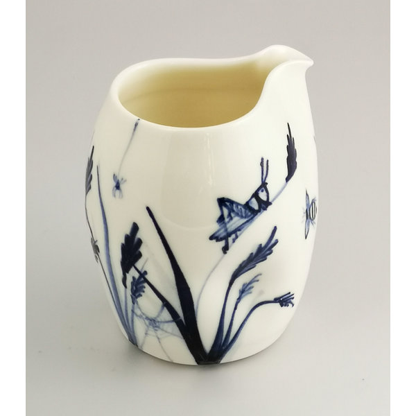 Grasshopper and Bees  porcelain  hand painted  pouring jug 038