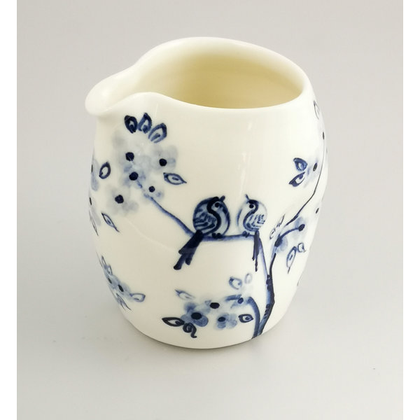 Birds in Cherry  porcelain  hand painted  pouring jug 039