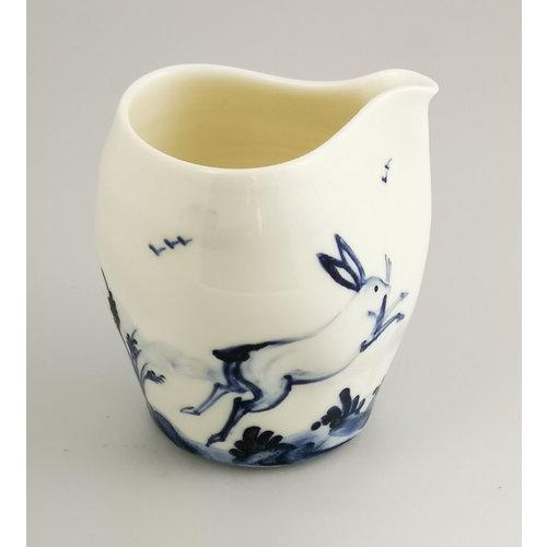 Mia Sarosi Hares  porcelain  hand painted  pouring jug 040
