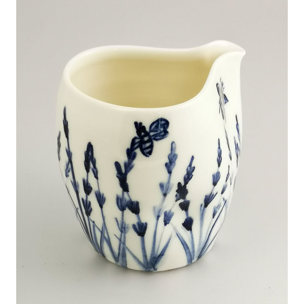 Lavender and Bees  porcelain  hand painted  pouring jug 041