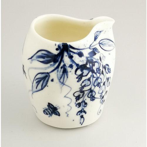 Mia Sarosi Wisteria and Bees porcelain  hand painted  pouring jug 044