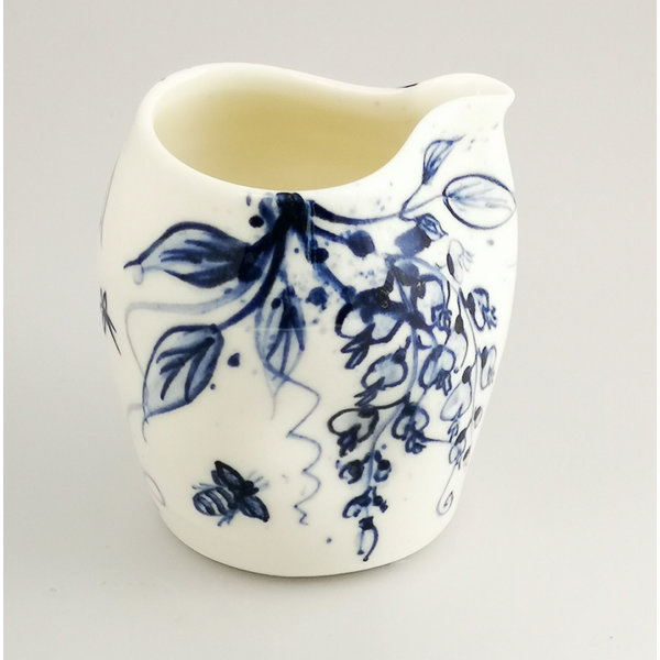 Jarra de porcelana Wisteria and Bees pintada a mano 044