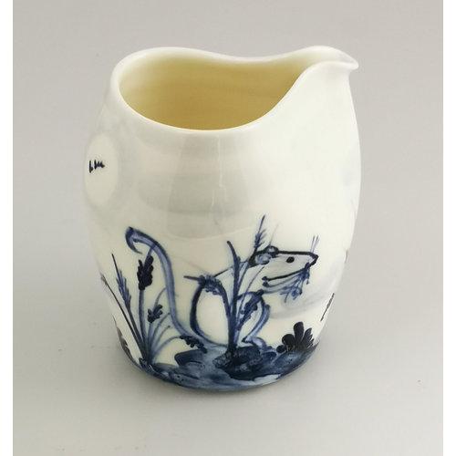 Mia Sarosi Two Mice porcelain  hand painted  pouring jug 045