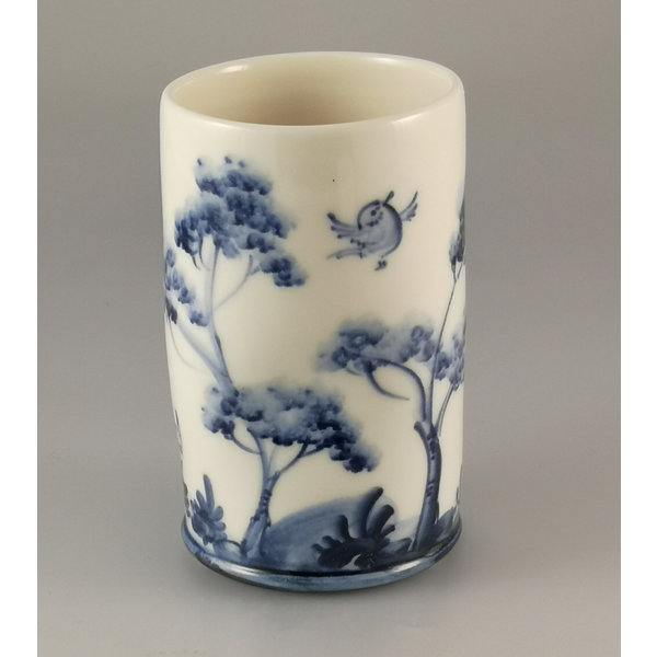 Flying Birds Posy Pot porcelain  hand painted 025