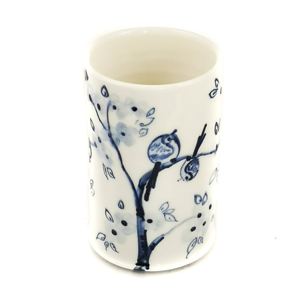 Birds in Cherry  porcelain  hand painted  posy pot 047