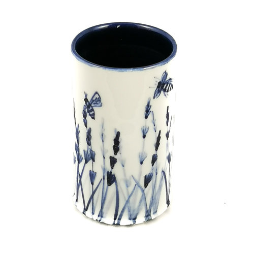 Mia Sarosi Lavender with Bees porcelain  hand painted  posy pot 048