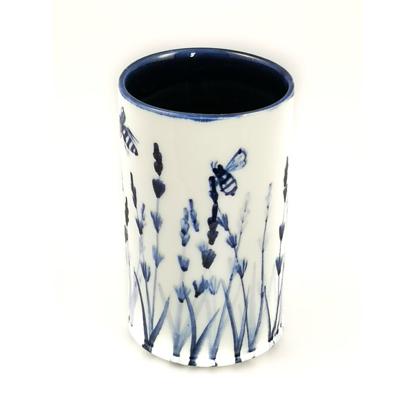 Lavender with Bees porcelain  hand painted  posy pot 048