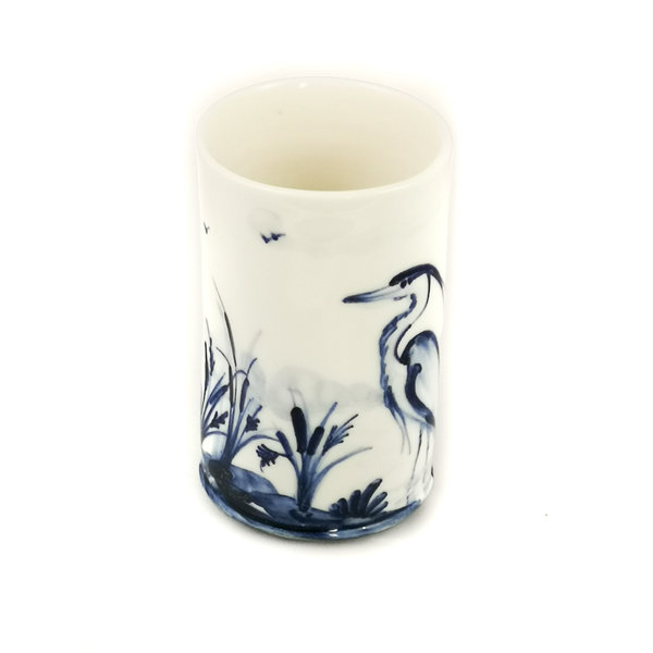 Herons porcelain  hand painted  posy pot 050