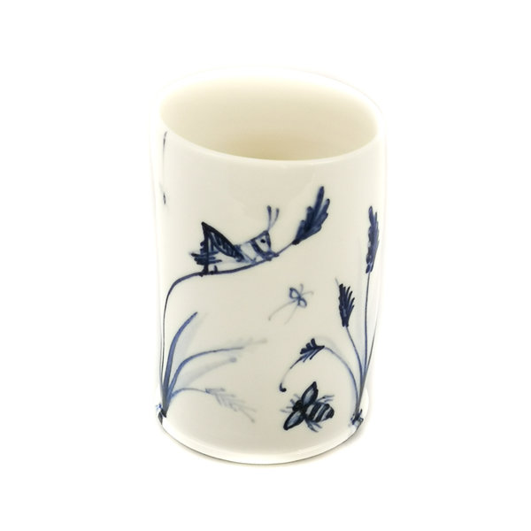 Grasshopper and bees  porcelain  hand painted  posy pot 052