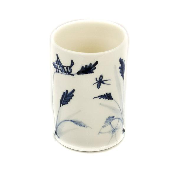 Saltamontes y abejas porcelana pintada a mano olla 052