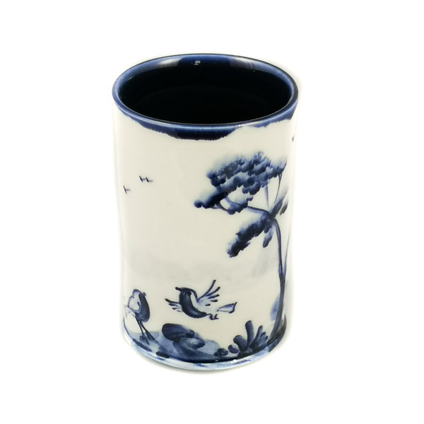 Robins  porcelain  hand painted  posy pot 053