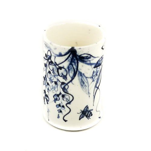Mia Sarosi Wisteria and Bees  porcelain  hand painted  posy pot 054